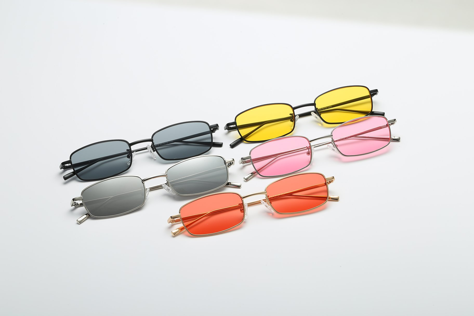 ae999b84b5872 FEISEDY Vintage Slender Square Sunglasses Retro Small Metal Frame Candy  Colors B2295
