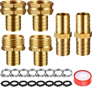 4 Set 3/4 Inch Solid Brass Garden Hose Connector Hose Mender, Water Hose Repair Kit Female and Male Hose Connector with Tape, Stainless Steel Clamp and Rubber Gasket