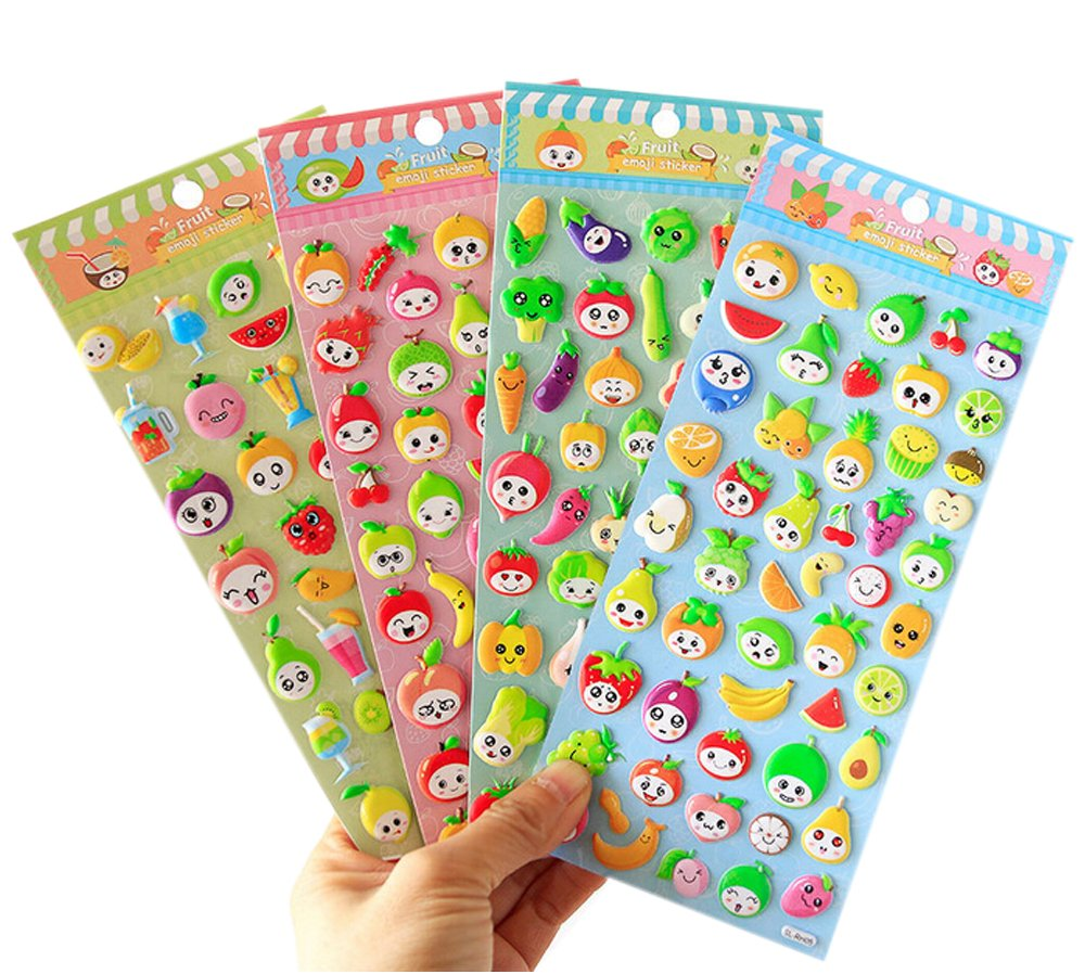 4 Sheets Cute Lovely Puffy DIY Decorative Adhesive Sticker Tape//Kids Craft Scrapbooking Sticker Set for Diary Vegetables+Fruits Album Funcoo