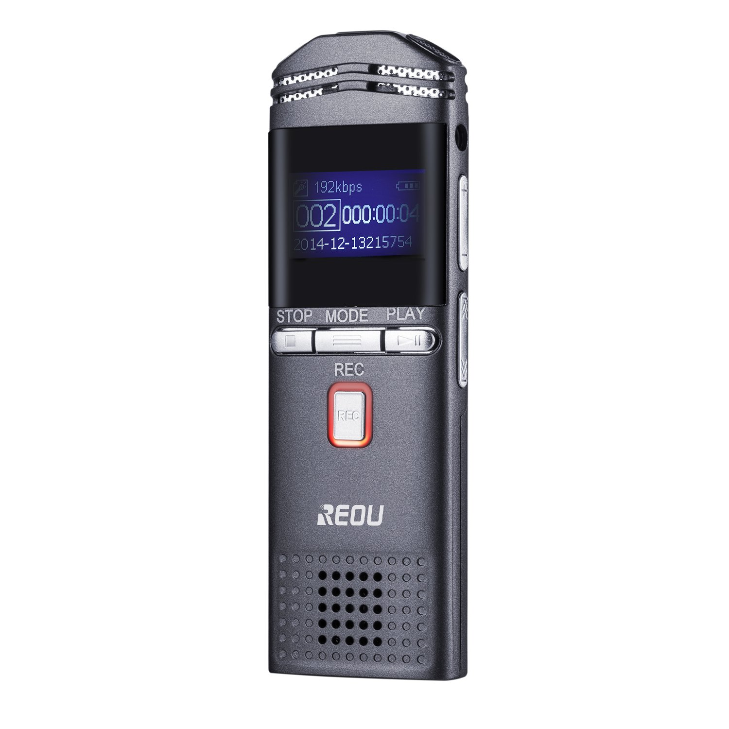 REOU Digital Voice Recorder Landline Call Sound Recorder, 4GB Voice Activated Recorder with MP3 Player, DSP Noise Reduction, Up to 128GB, for Interview, Learning, etc.
