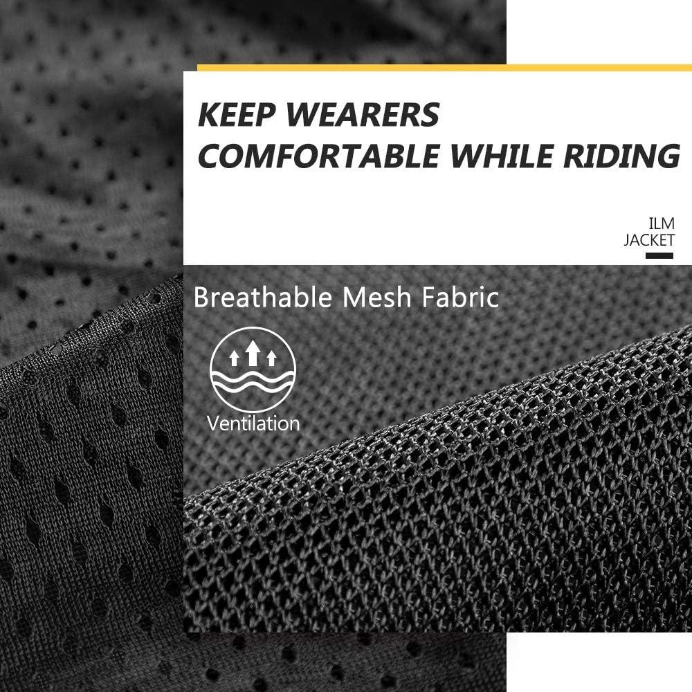 ILM Mesh Motorcycle Riding Jacket CE Armor with Titanium Alloy Shoulder Pad for Men Women Dirt Bike Motocross Gear Black, XLarge