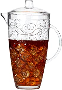 Lily's Home Break-Resistant Plastic Pitcher with Lid, Food-Safe and BPA-Free, Elegant and Ideal for Indoor or Outdoor Use for Lemonade, Iced Tea, Grapes and Vines Design (78 oz. Capacity)