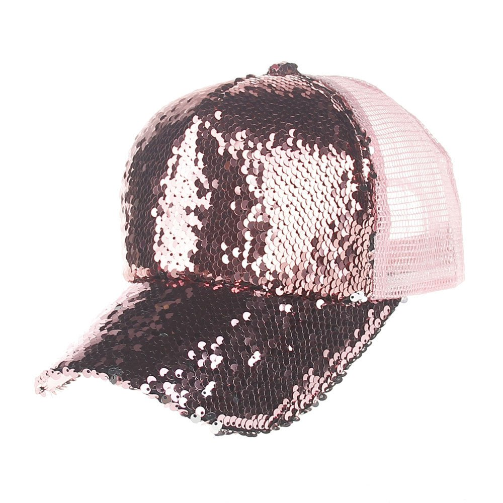 Womens Mens Unisex Sequins Mesh Caps Baseball Cap Women and Men Solid Outdoor Nightclub Sun Hats 6 Colors Bling Bling! (Pink)