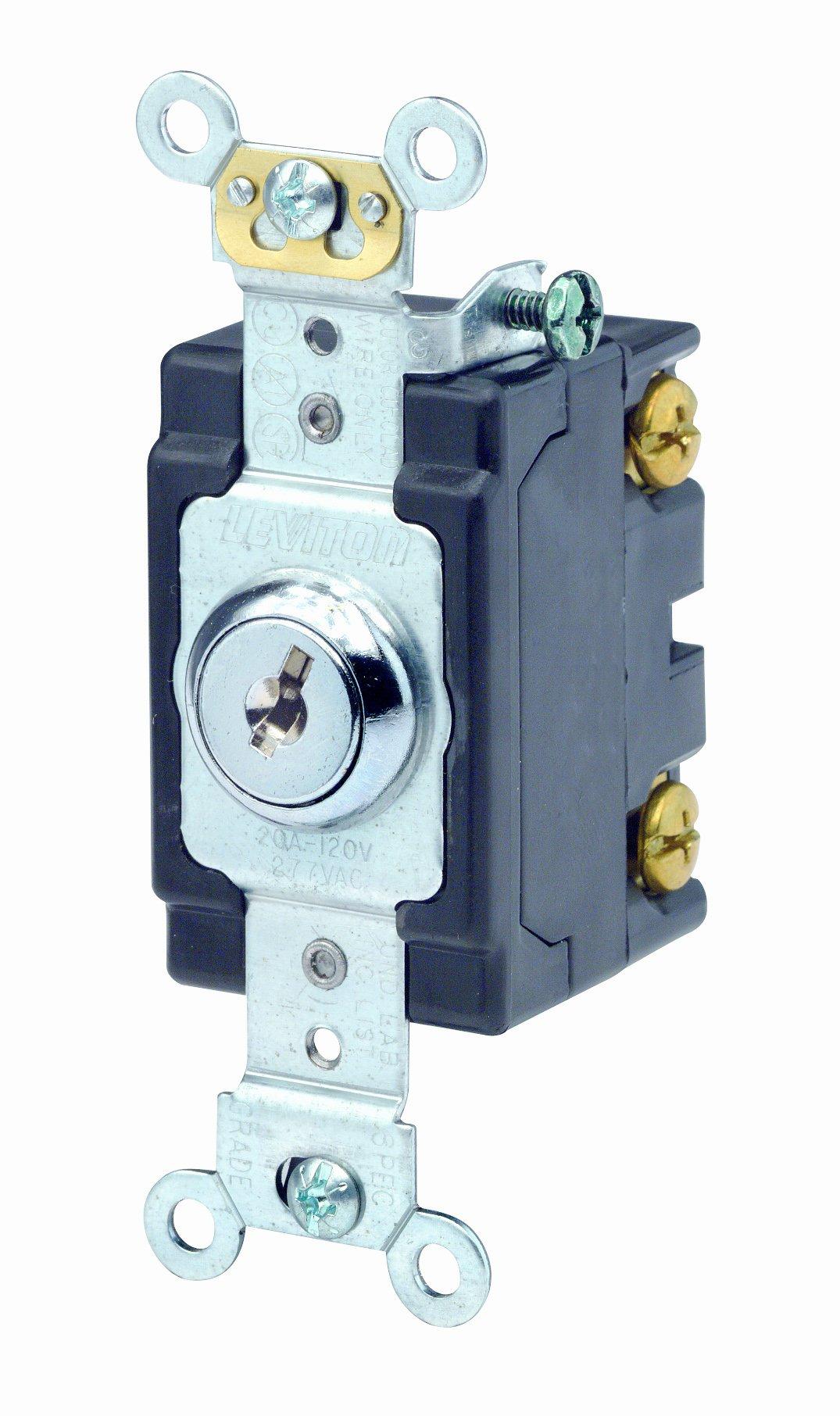 Leviton 1221-2KL 20 Amp, 120/277 Volt, Key Locking, Single-Pole, AC Quiet Switch, Extra Heavy Duty Spec Grade, Self Grounding, Chrome