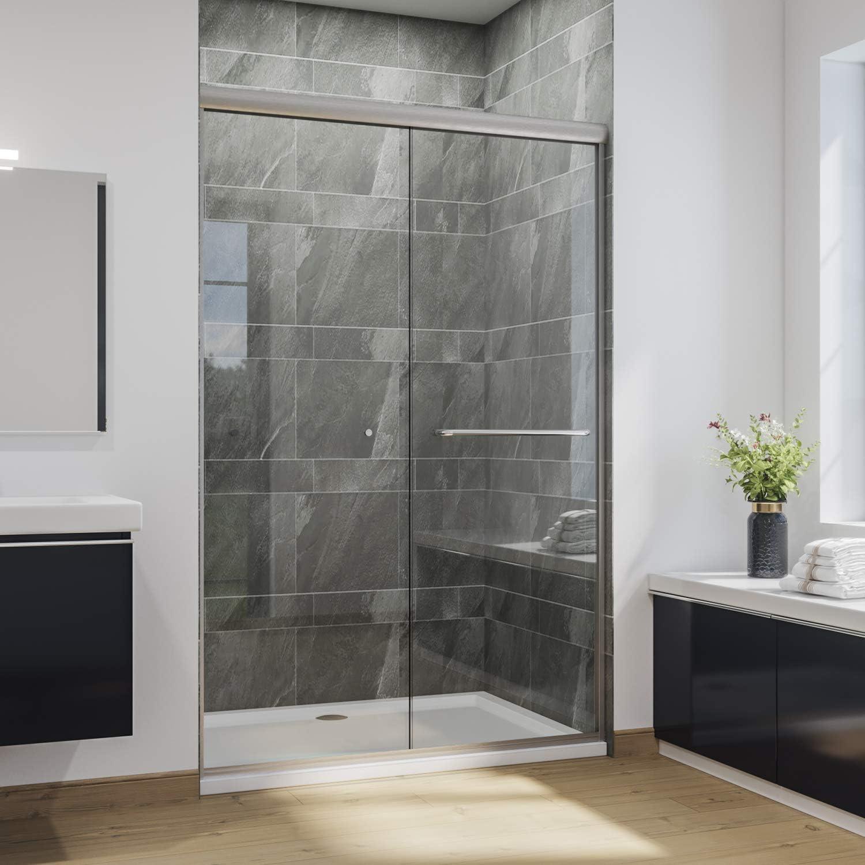 SUNNY SHOWER B020 Puertas correderas de ducha sin marco, vidrio transparente de 1/4 pulgadas, acabado cromado de 2 vías deslizantes, 60 pulgadas de largo x 72 pulgadas de alto: Amazon.es: Bricolaje y herramientas