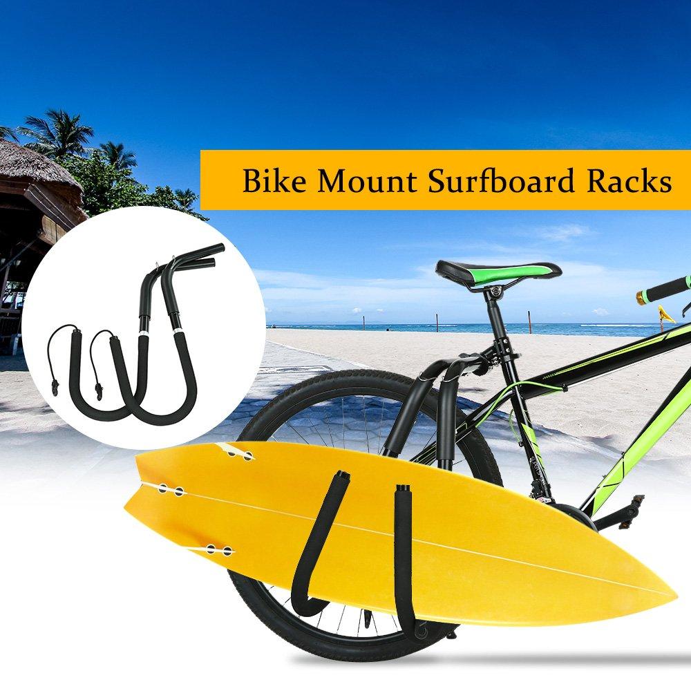 Lixada Bicicleta Ajustable Rack para Tabla de Surf Bicicleta para Surfista Carrier Mount to Seat Posts Accesorios (Negro): Amazon.es: Deportes y aire libre