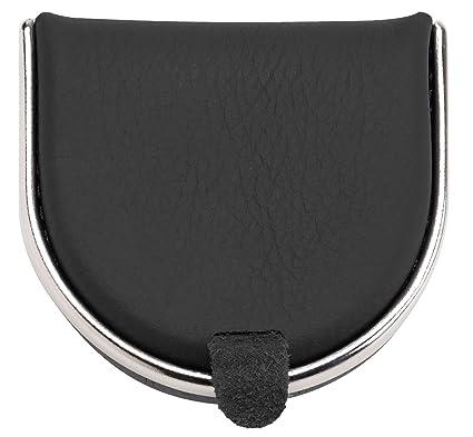 Monedero de cuero para hombre con bordes metálicos, colores negro y marrón