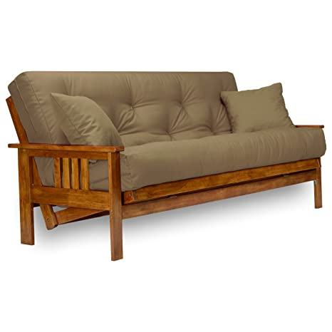 best service 9c445 39ec7 Stanford Futon Set - Full Size Futon Frame with Mattress Included (8 Inch  Thick Mattress, Twill Khaki Color), More Colors & Larger Queen, Heavy Duty  ...