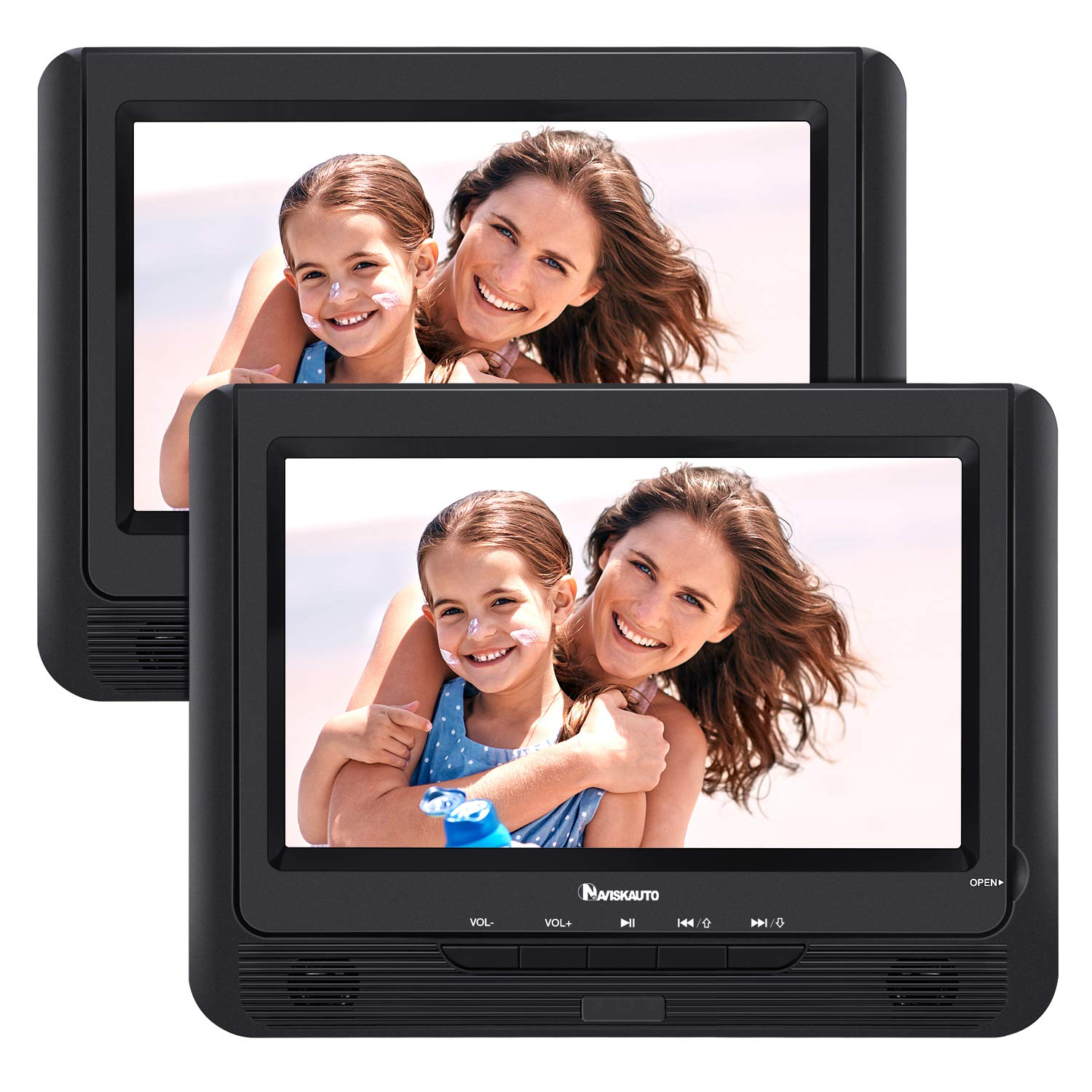 NAVISKAUTO 9'' Portable Car DVD Player Dual Screen with 5-Hour Built-in Rechargeable Battery, Last Memory and Region-Free (Two Screens Play One Movie)