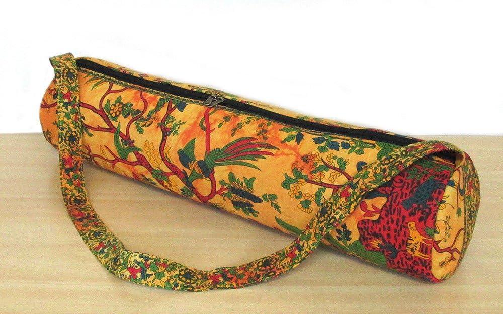 Indian Handmade Ethnic Gym Exercise Sports Cotton Unisex Cross Body Boho Hobo Full Zip Yoga Mat Carrier