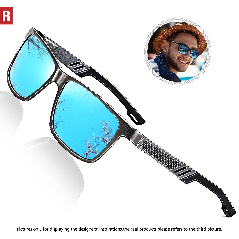 ROCKNIGHT Driving Polarized Wayfarer Sunglasses for Men Al-Mg Lightweight Blue Mirrored Sunglasses UV Protection Casual Fishing