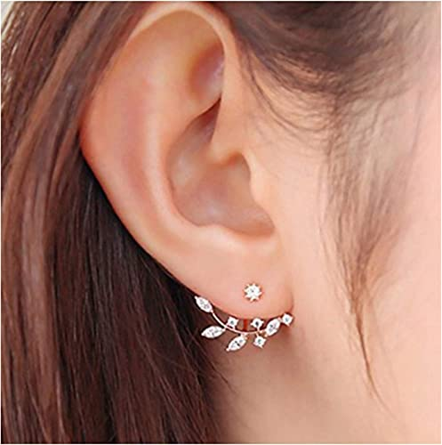Gold Flower Earring Jackets Back to Front Earrings Ear Cuff Silver /& Rose Gold