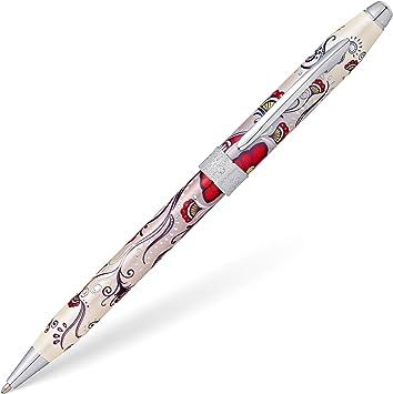 Cross century 2 Botanica Red HummingbirdFountain Pen W// MEDIUM 18K GOLD NIB!!