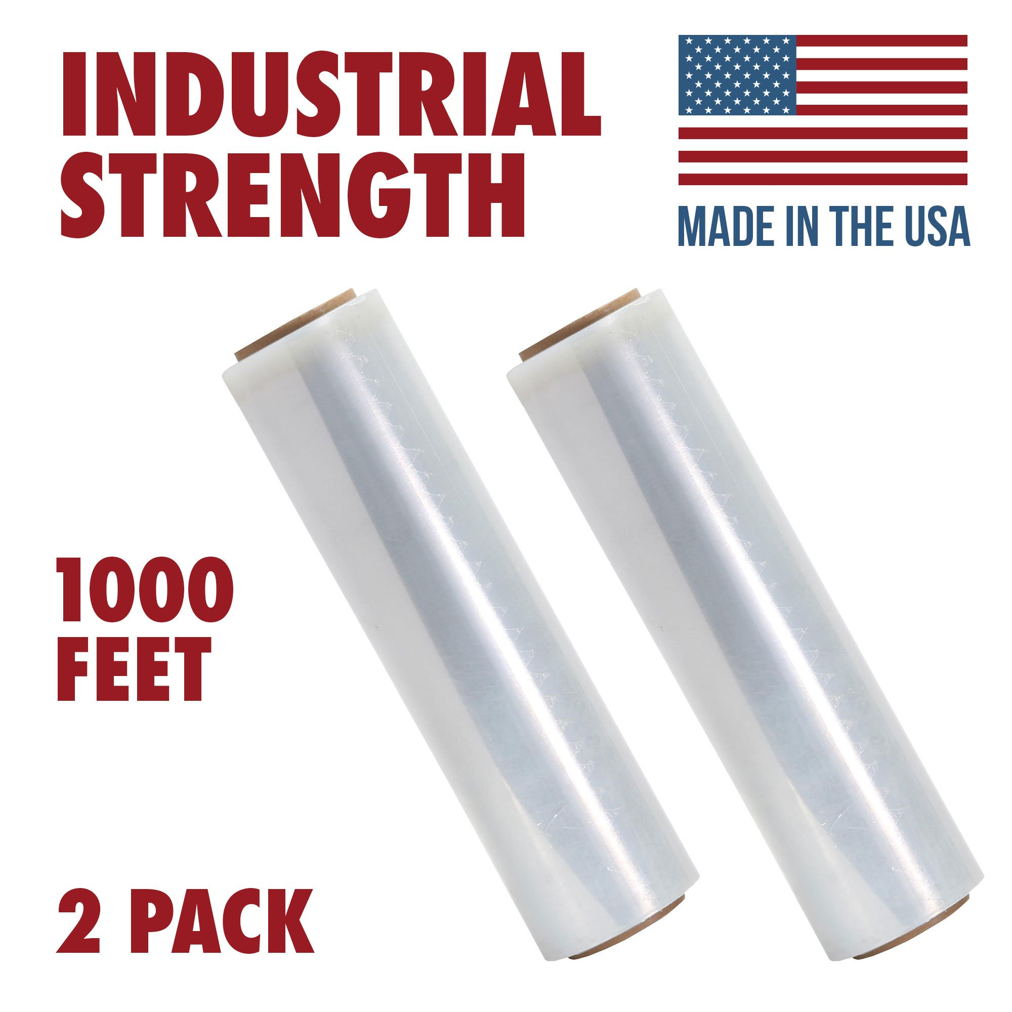 18 X 1000 Tough Pallet Shrink Wrap, 80 Gauge Industrial Strength Plastic Film, Commercial Grade Strength Film, Moving & Stretch Packing Wrap, For Furniture, Boxes, Pallets (2-Pack) by Ox Plastics