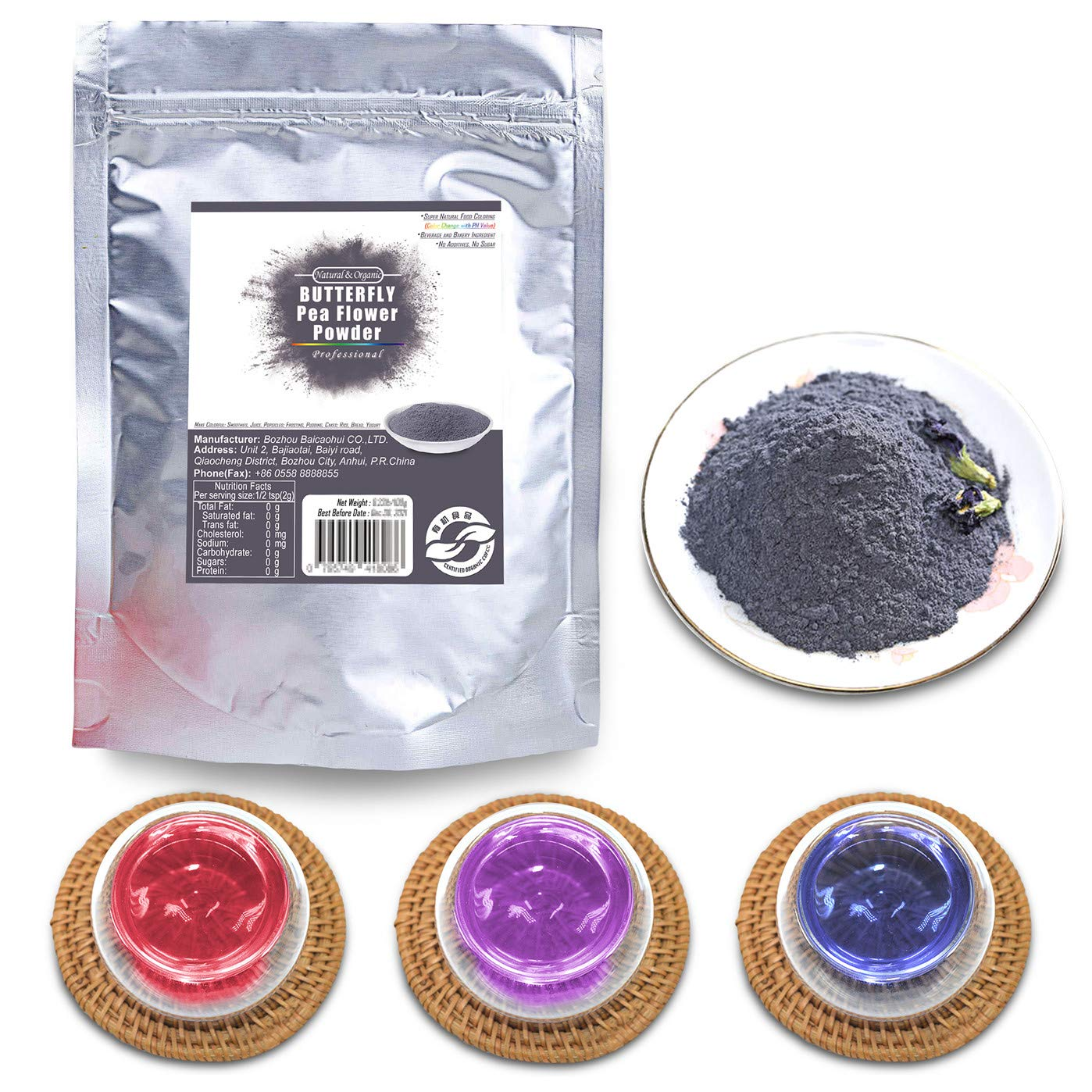 Prettyard Organic Blue Butterfly Pea Flower Powder (Natural Color, Not Blue) - Natural Food and Beverage Coloring Change with PH Value, No Additives -Beverage & Bakery Ingredient (8.8OZ/0.55LB/250g)