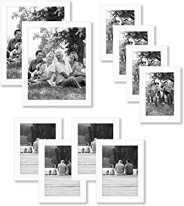 Americanflat 10-Piece Multi Pack White Frames; Includes (2) 8x10 Frames, (4) 5x7 Frames, (4) 4x6 Frames