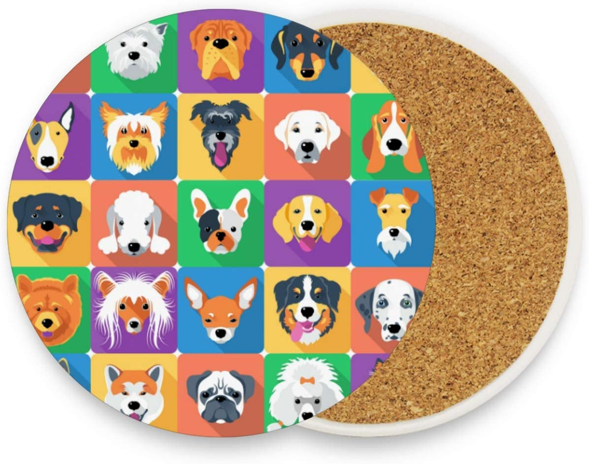 visesunny Unique Design Dog Icon Pattern Coaster Moisture Absorbing Stone Coasters with Cork Base for Tabletop Protection Modern Coffee Mug Glass Cup Place Mats for Cold Drinks, 2 Pieces