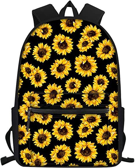 Nopersonality Sloth Dog Sac /à dos pour /école primaire Motif tournesol - Nopersonality Black Sunflower Noir