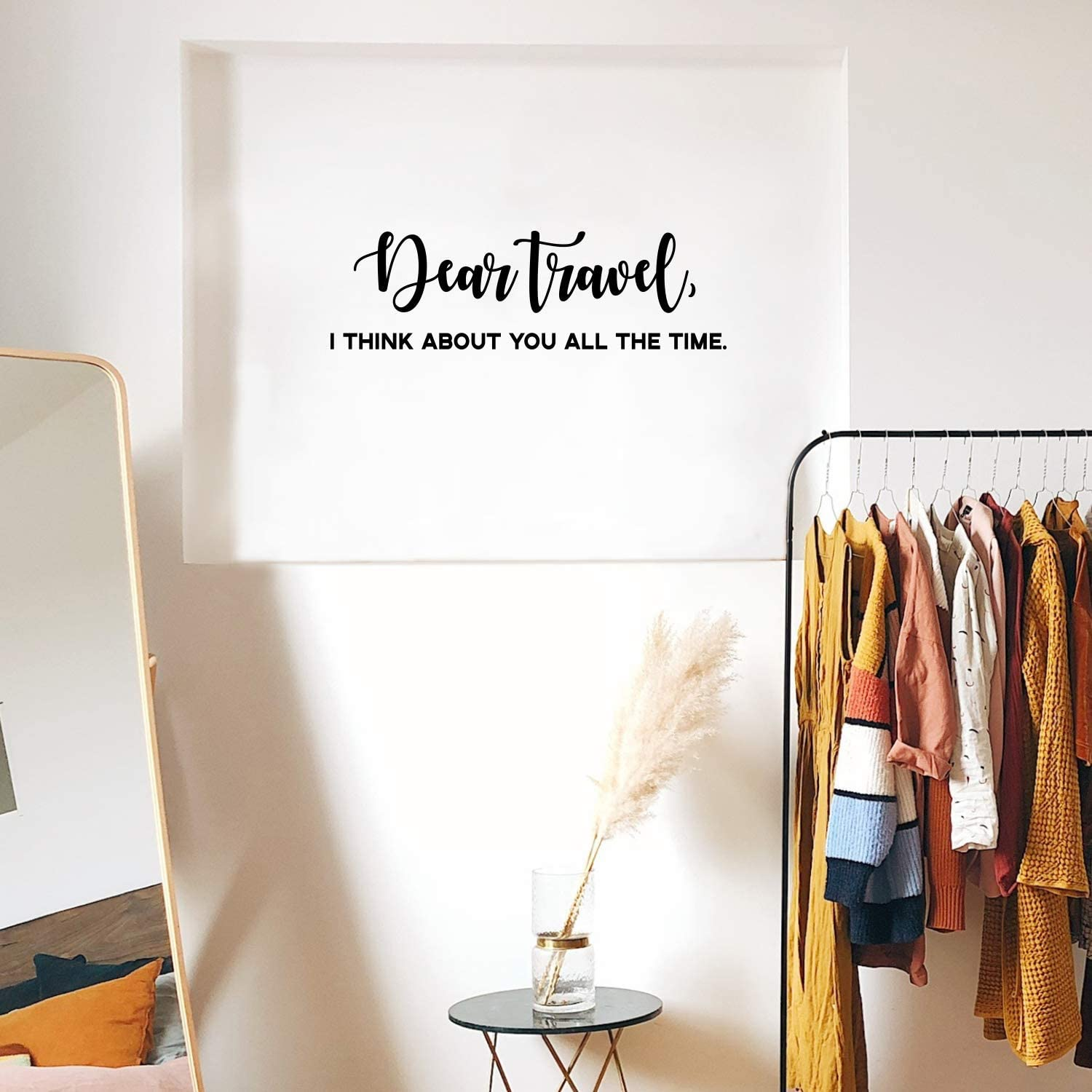 """Vinyl Wall Art Decal - Dear Travel I Think About You All The Time - 9"""" x 30"""" - Witty Modern Traveler Vacations Quote for Home Bedroom Apartment Living Room Office Workplace Decor"""