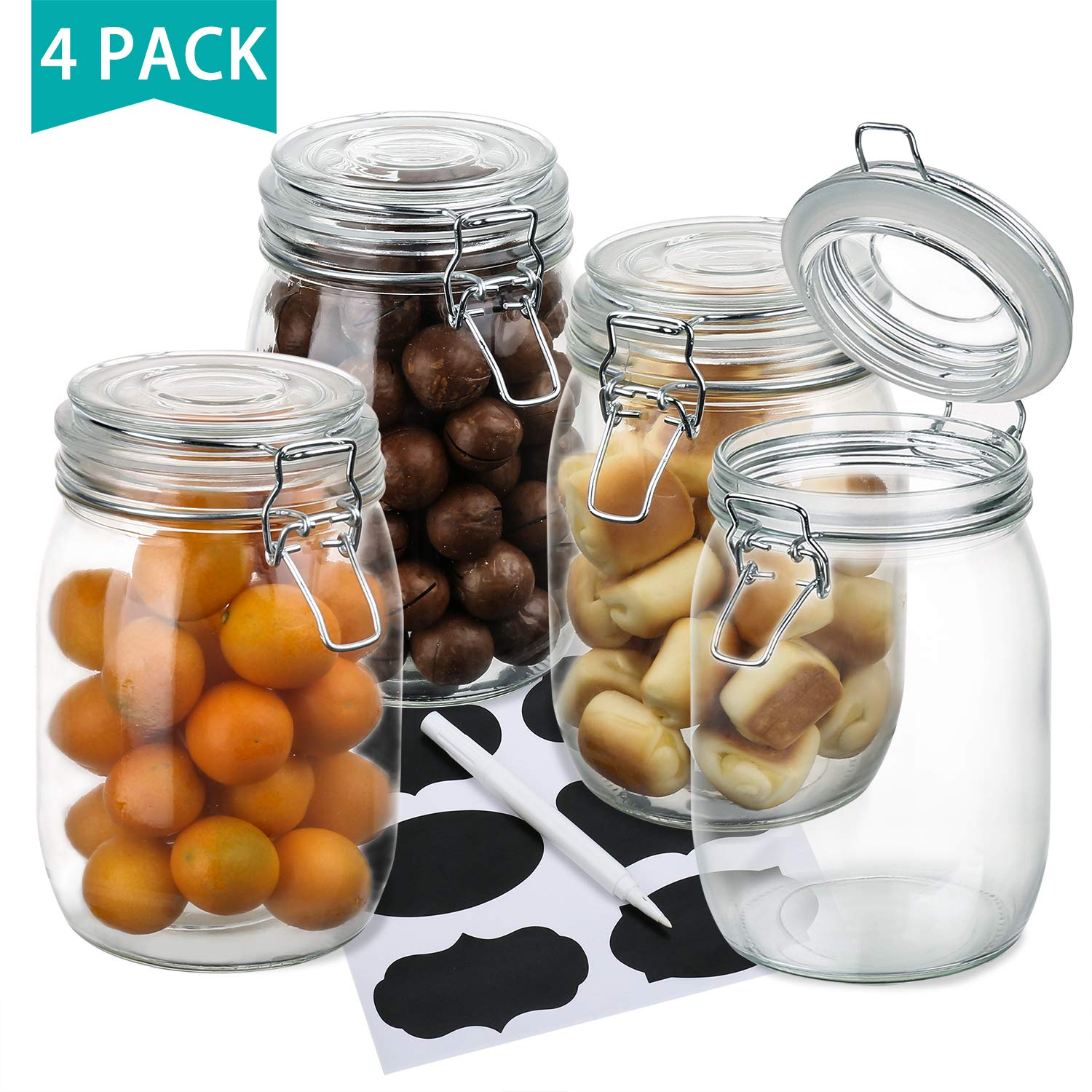 Wide Mouth Mason Jars, OAMCEG 4-Piece 1 L Airtight Glass Preserving Jars with Leak Proof Rubber Gasket and Clip Top Lids, Perfect for Storing Coffee, Sugar, Flour or Sweets - 8 Labels & 1 Chalk Marker