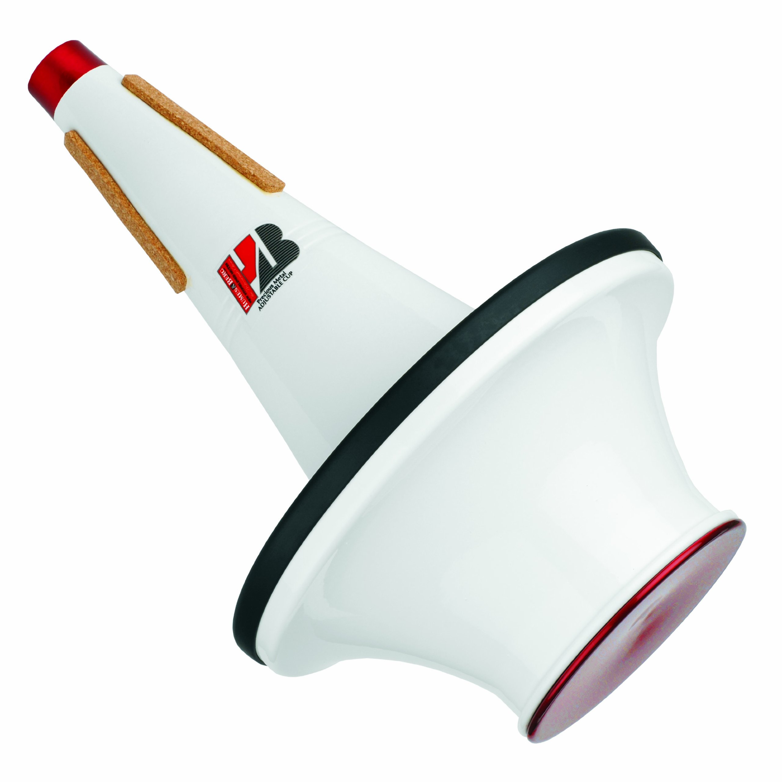 Humes & Berg Stonelined Adjustable Cup Alumnium Red/White Bass Trombone Mute (299)