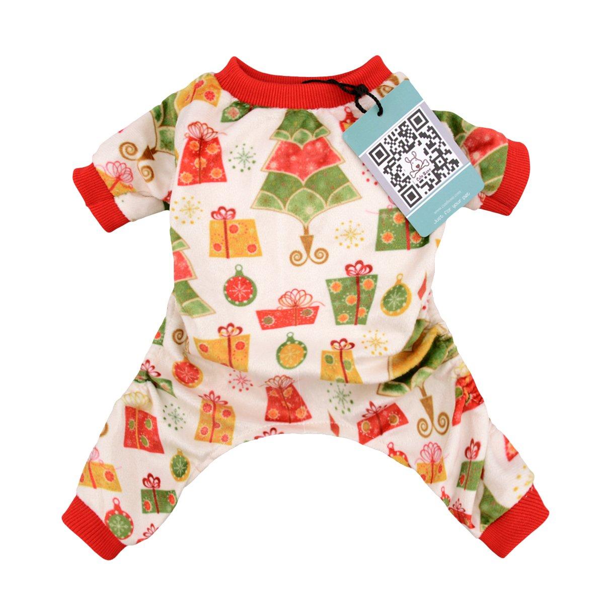 CuteBone Dog Pajamas Christmas tree Dog Apparel Dog Jumpsuit Pet Clothes Pajamas P17L
