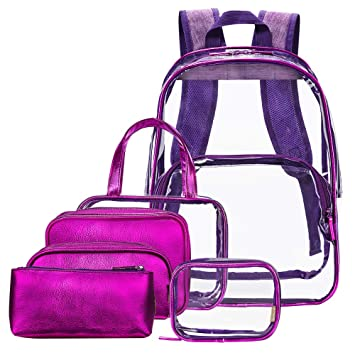 aabc72e37a46 NiceEbag Clear Backpack with Cosmetic Bags Heavy Duty School Bookbag with  Makeup Bag Set See...