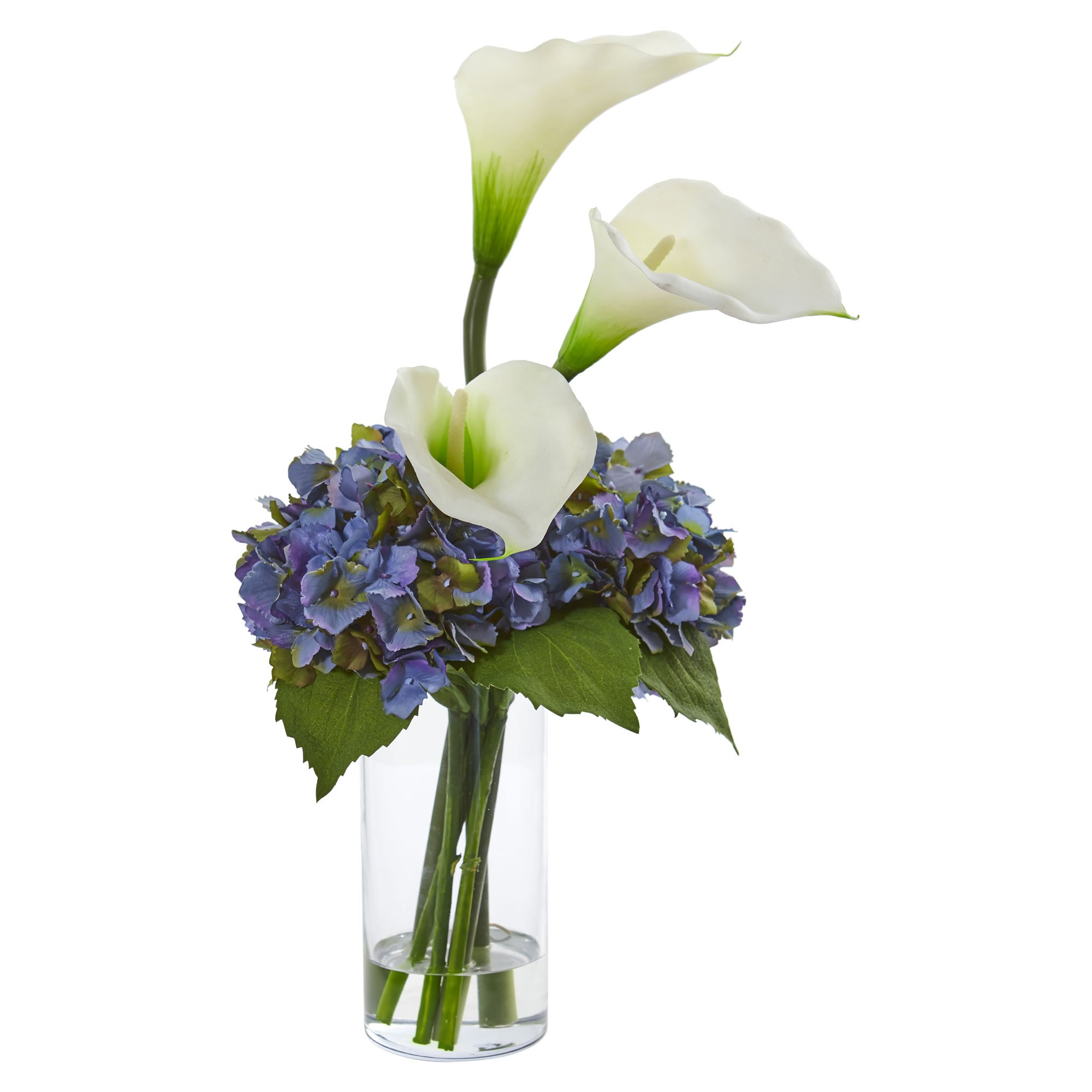 Nearly Natural 1607-WH Calla Lily and Hydrangea Artificial Silk Arrangements, White by Nearly Natural