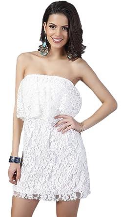 Sleeveless Strapless Ruffled Ruffle Hem Off The Shoulder Lace Tube Mini Bodycon Dress White