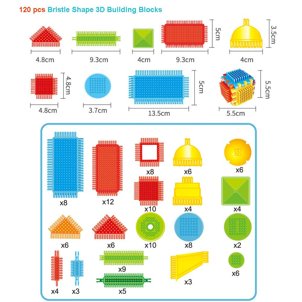 Ahagogo 100pcs Building Blocks Bristle Shape 3D Building Blocks Tiles Construction Playboards Toys Toddlers Kids (AS shown, One Size)