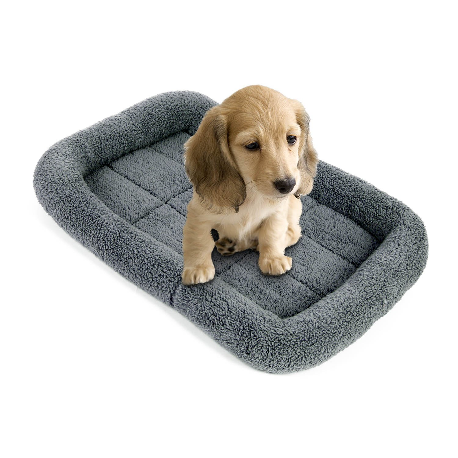 Pecute Pet Cushion with Summer Sleeping Mat for Dog Comfortable Coral Velvet Pillow Crate Bed (19.6*14.5INCH)