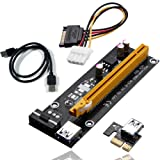 4 Pin PCI-E 1X to 16X Enhanced Powered Riser Adapter Card & USB 3.0 Extension Cable & 4Pin to SATA Power Cable & GPU Riser Adapter, Perfect for GPU Graphic Card Express Ethereum Mining ETH