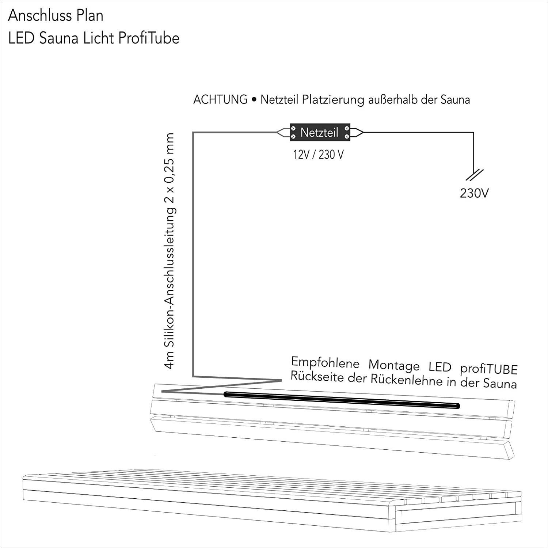 1 x 153cm, nicht dimmbar Wasserfest IP44 LED Warm-Weiss 2700K Sauna-Licht Indirekt profiTUBE bis 125/°C