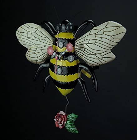 Allen Designs Buzz Whimsical Bee Pendulum Wall Clock