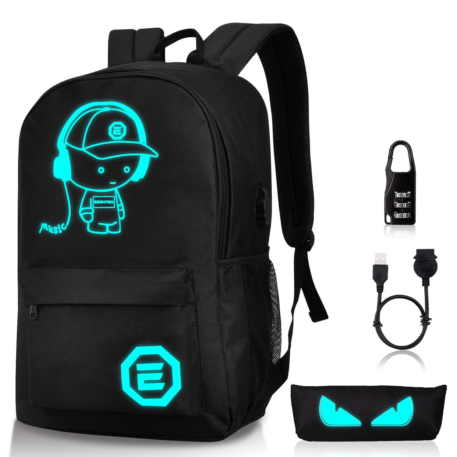 Luminous School Backpack,Ezonteq Anime Cartoon Music Boy Shoulder Laptop Travel Bag Daypack College Bookbag Night Light for Students with USB Charging Port,Lock and Pencil Case 35L (No Power Source)
