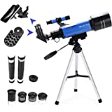 MaxUSee 70mm Refractor Telescope with Tripod & Finder Scope, Portable Telescope for Kids & Astronomy Beginners, Travel…