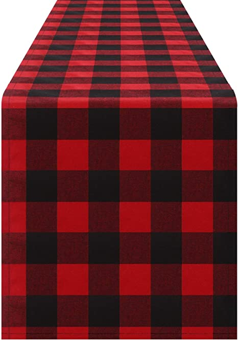 Farmhouse Table Runner Buffalo Plaid Cotton Table Runner 72 Inch Long,Plaid Check Table Runner Wedding Table Runner-16x72 Hot Pink//White Set of 1 Rustic Bridal Shower Decor Table Runner