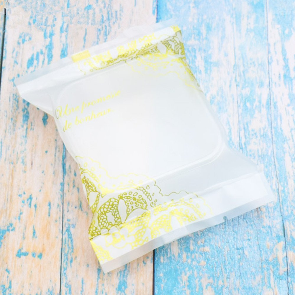100g Vintage Moon Cake Plastic Bags Hot Seal Cookie Candy Bag With Trays Mooncake Packaging 100 Sets (100G Yellow Lace)