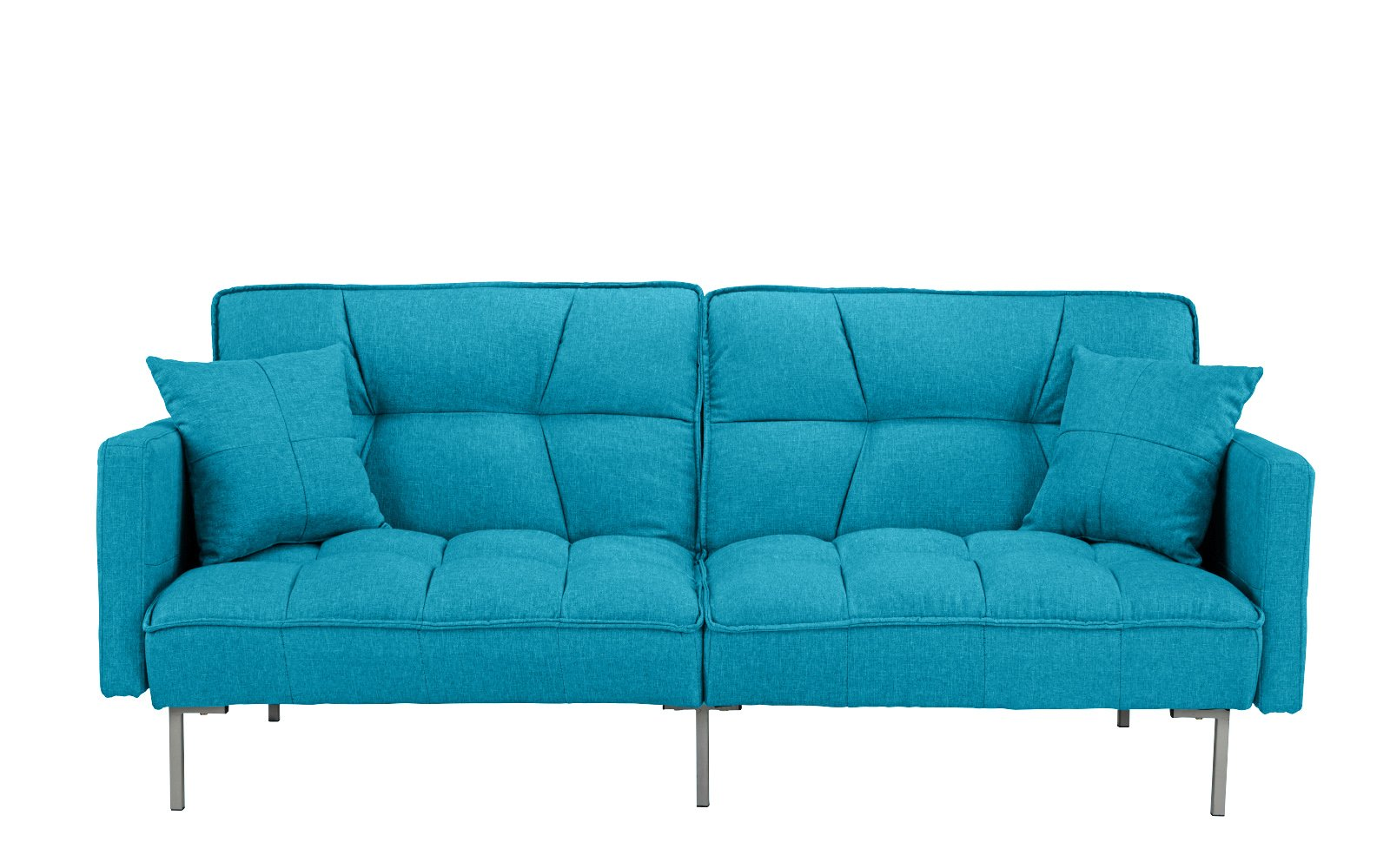 DIVANO ROMA FURNITURE Collection - Modern Plush Tufted Linen Fabric Splitback Living Room Sleeper Futon (Light Blue) by DIVANO ROMA FURNITURE
