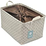 Drawstring Closure for Dust-proof, Storage Box with Handles, Best Storage Container for Clothes/books/ Cosmetics Organization on the Table or in Closet, Khaki Dot