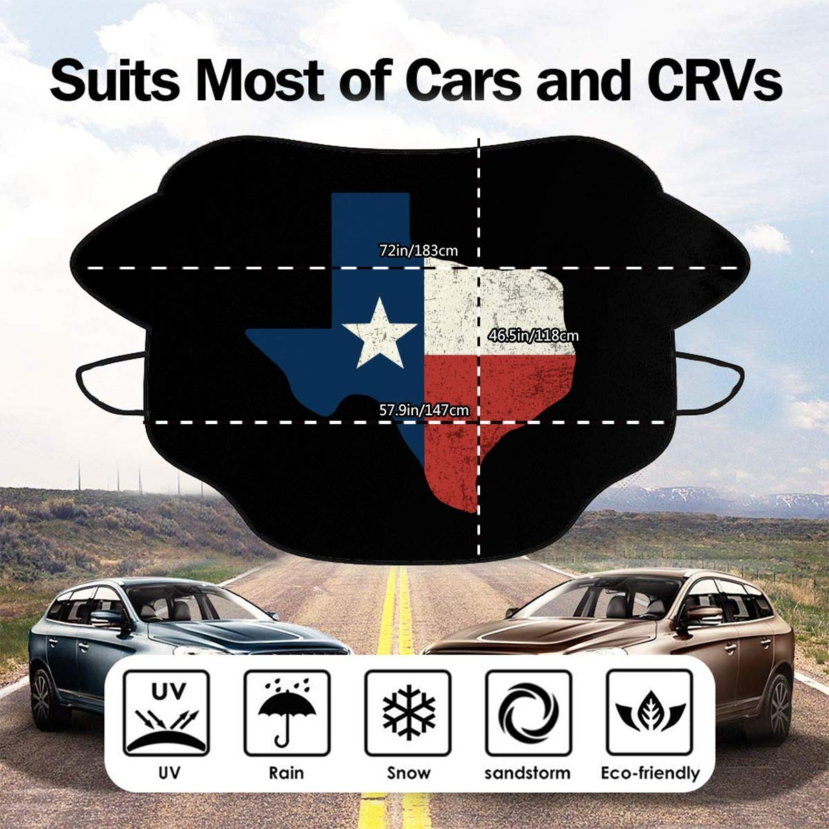 A10U-FXZ Car Front Windshield Snow Cover Vintage Texas Flag Frost Guard Protector,Ice Cover,Car Sun Shade Waterproof Windshield Protector Car//Truck//SUV Use Size 57.9x46.5 Inch