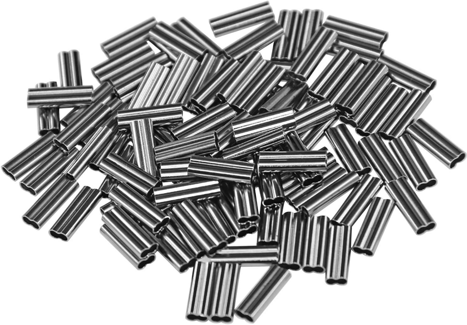 Shaddock Angeln Double Barrel Crimping Sleeves 100stk Angeln Draht /Ärmel Angelschnur Tube Leader Sleeves Kupferrohr-Anschluss Angelger/ät Kit