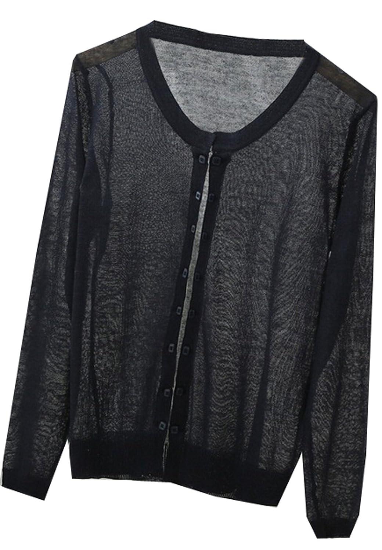 NQ Women's Round Neck Long-sleeved Cardigan Jacket