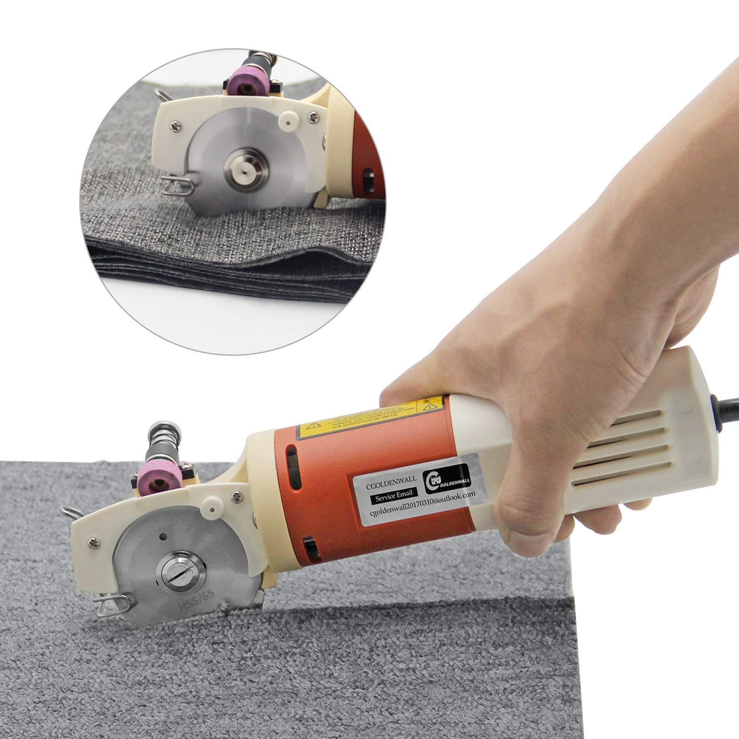 CGOLDENWALL YJ-65 Portable Electric Cloth Cutter Scissors Fabric Round Knife Cutting Machine Fabric Cutter Shears Blade Diameter 65MM by CGOLDENWALL