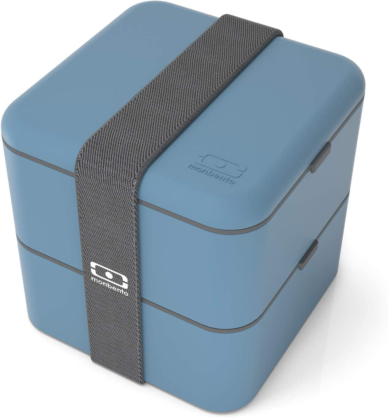 monbento - MB Square Denim Blue bento Box - Large - 2 Tier Leakproof Lunch Box for Work/School Lunch Packing and Meal prep - BPA Free - Food Grade Safe Food containers