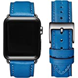 OMIU Square Bands Compatible for Apple Watch 38mm 40mm 42mm 44mm, Genuine Leather Replacement Band Compatible with Apple…