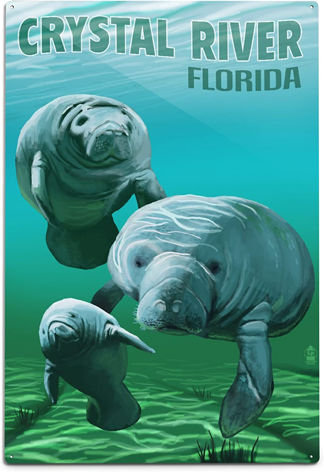Lantern Press Crystal River, Florida - Manatees 78005 (6x9 Aluminum Wall Sign, Wall Decor Ready to Hang)