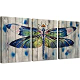 Hello Artwork 3 Pieces Canvas Wall Art Watercolor Dragonfly On Wood Background Vintage Animals Painting Print On Canvas Stretched and Framed for Home Decoration Ready to Hang 16x24inchx3pcs