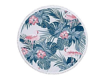 OHlive Brillante Plantas Tropicales Redondas y Toalla de Playa Impresa Flamenco con borlas Super Absorbente Agua