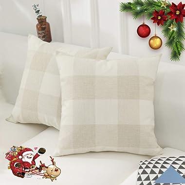 HOME BRILLIANT Retro Checkers Plaids Farmhouse Tartan Soft Cotton Linen Home Spring Summer Decoration Throw Pillow Covers Shams Cushion Cases Cover Sofa, 2 Pack, 18x18 inches(45x45cm), Beige White